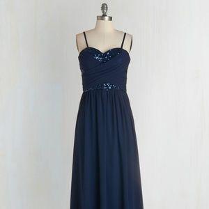 Modcloth Maxi Dress in Navy Blue/Glitter